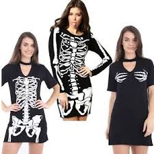Skeleton Woman Halloween Costume Womens Ladies Halloween Costume Skeleton Choker Mini Swing Bodycon