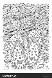 coloring book for sea beach slippers shells flip flops