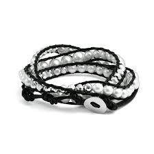 black leather wrap bracelet images Stackable white shell pearl black leather wrap bracelet 24in jpg
