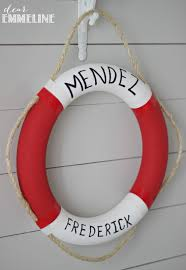 personalized preserver personalized lifebuoy wreath and maritime flag bunting