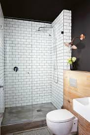 Bathroom Floor To Roof Charcoal by Wow So Bold With The Mix Of Materials Black Walls White Tiles