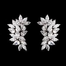 cubic zirconia earrings cz bridal cluster earrings clip on or pierced