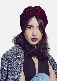 burgundy headband velvet half turban