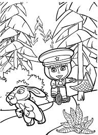 masha bear chasing rabbit coloring pages color luna