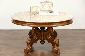 antique marble top pedestal table coffee table pretty sold victorian style vintage carved walnut oval