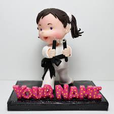 karate cake topper polymer clay figurine or cake topper karate girl with