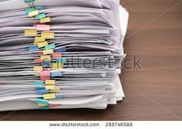 Desk Clips Pile Documents Colorful Clips On Desk Stock Photo 288746588