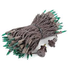 brown cord mini lights green christmas mini lights set 100 light brown wire 50 feet