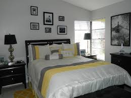 Grey Yellow And Black Bedroom by And Gray Bedroom With Black Furniture