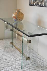 Glass Entry Table Sold Mid Century Modern Butterfly Glass And Brass Entry Table