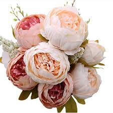 Faux Peonies Amazon Com Luyue Vintage Artificial Peony Silk Flowers Bouquet