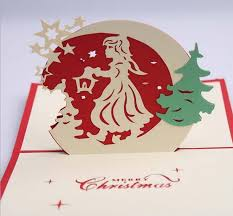 gril angel star handmade kirigami origami 3d pop up greeting cards