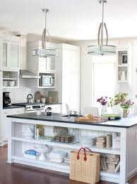 Open Shelves Under Cabinets Black Countertop White Island With Open Shelves Brown Wooden Chair