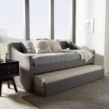 Upholstered Daybed With Trundle Furniture Beige Fabric Tufted Upholstered Daybed With Nailhead