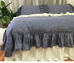 Chambray Duvet Cover Queen Chambray Denim Duvet Cover With Mermaid Long Ruffles Chambray