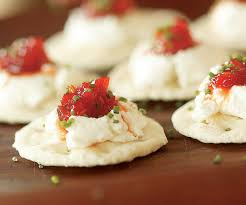 goats cheese canape recipes goat cheese crackers with pepper jelly recipe finecooking