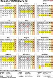Kalender 2018 Mit Feiertagen Saarland Kalender 2018 Saarland Ferien Feiertage Excel Vorlagen