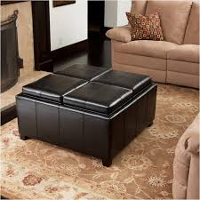 Cushioned Ottoman Table Tufted Ottoman Coffee Table Leather Square Gray