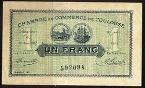 chambre commerce toulouse billet 1 franc chambre de commerce de toulouse 1917 ttb