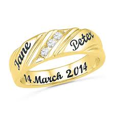 wedding band names men s 0 16 ct t w diamond three slant engraved wedding