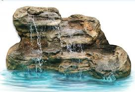 large faux rock garden waterfalls