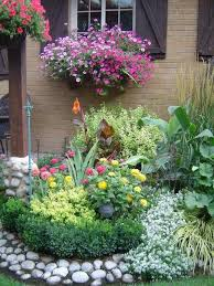 flower garden with flag stones borders starting a beautiful