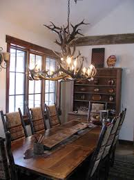 Rectangular Chandelier Dining Room by Stylish Dining Room Custom Deer Pendant Lamps Over Rectangle
