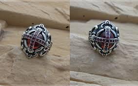 cross rings silver images Men 39 s sterling silver vintage gothic vampire cross ring red jpg