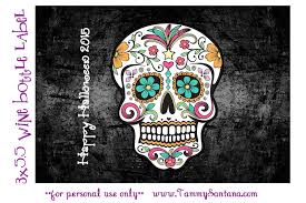 free printable halloween labels tammysantana com halloween sugar skull wine bottle label with