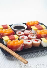 cuisine trompe l oeil sushis sucrés salés à la charcuterie aoste et fruits d été