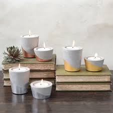 homart cement tealight holder in silver sm areohome