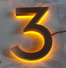 Lighted House Number Sign Led Light Halo Lit Address Bronze Numbers Address Sign U2013 House