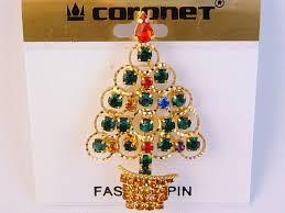gold christmas tree brooch pin red green blue purple topaz