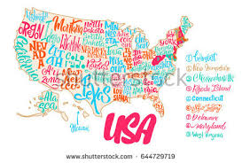 usa map with names silhouette map usa handwritten names states stock vector 650476372