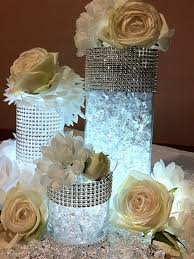 Cake Vase Set Candles Crystals Rhinestones Satin Cylinder Vases Add Gold