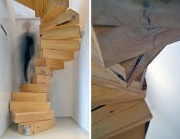 jenga style steps spiral stairs made of wood blocks