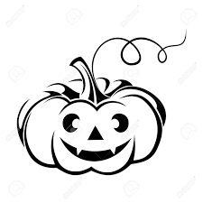 black silhouette of jack o lantern halloween pumpkin illustration