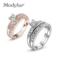 double rings jewelry images Modyle 2018 new modyle delicate fashion gold color shinning jpg