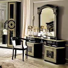 theme mirror bedroom traditional dresser table idea with black and gold theme
