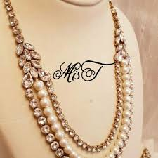necklace set image images Stylish wedding pearl crystal three layered necklace set anme jpg