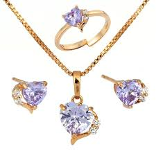 heart ring necklace images Cute gold color lavendar purple aaa cz heart cz ring pendant jpg