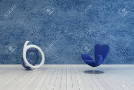 minimalist blue living room decor and interior with a rough