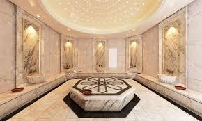 turkish interior design modern marble turkish bath 3d design and rendering stock photo