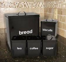 black canisters for kitchen vintage retro metal kitchen canisters jars ebay