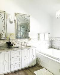 Pottery Barn Mirrored Vanity White And Gray Bathroom With Farrah Nailhead Edge Mirrors