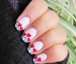 simple easy white color nail art design for valentine u0027s day