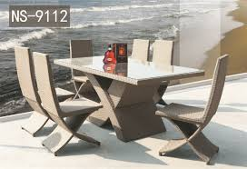 7 pc x rattan dining table