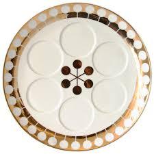 sader plate futura white and gold seder plate modern decor jonathan adler