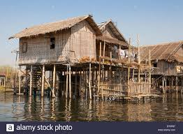 Homes On Pilings by Lakeside Houses Built On Stilts Inle Lake Shan State Myanmar