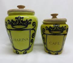 Pottery Kitchen Canisters 2 Pc Vintage Spain Pottery Kitchen Canisters Harina Cereal